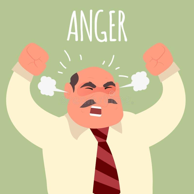 Ilustração de um homem de negócios irritado do chefe ilustração royalty free