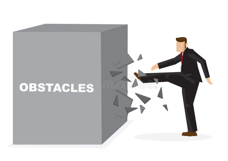 Ilustração de um homem de negócios que retrocede um obstac gigante do título do bloco ilustração do vetor