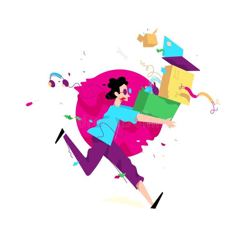 Ilustração de um homem novo com caixas e coisas Vetor Illust ilustração stock