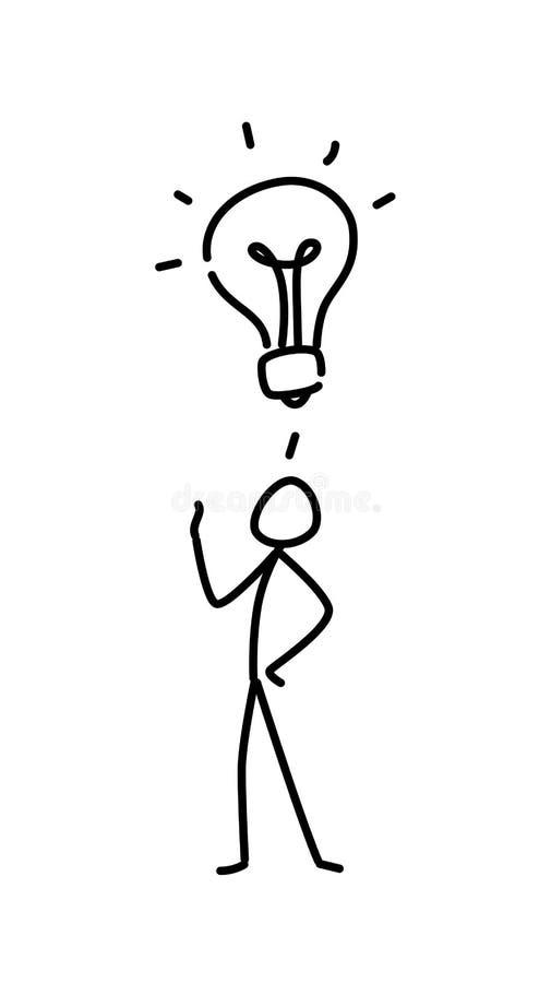 Ilustração de um homem pequeno e de uma ampola Vetor Começ uma idéia metaphor estilo linear Ilustração para o Web site ou ilustração stock