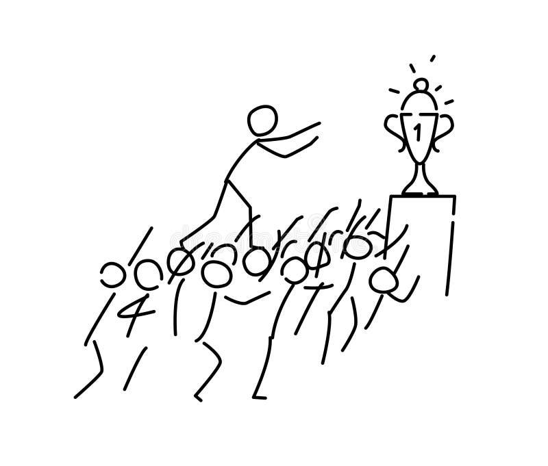 Ilustração de um homem pequeno que vai à concessão Vetor Ao objetivo da cabeça, em alguma metáfora do custo estilo linear ilustração do vetor