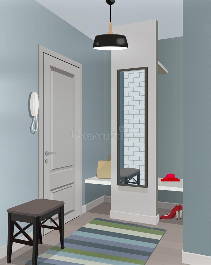 Ilustração de um interior de um vestuario com roupa e uma porta de entrada ilustração royalty free