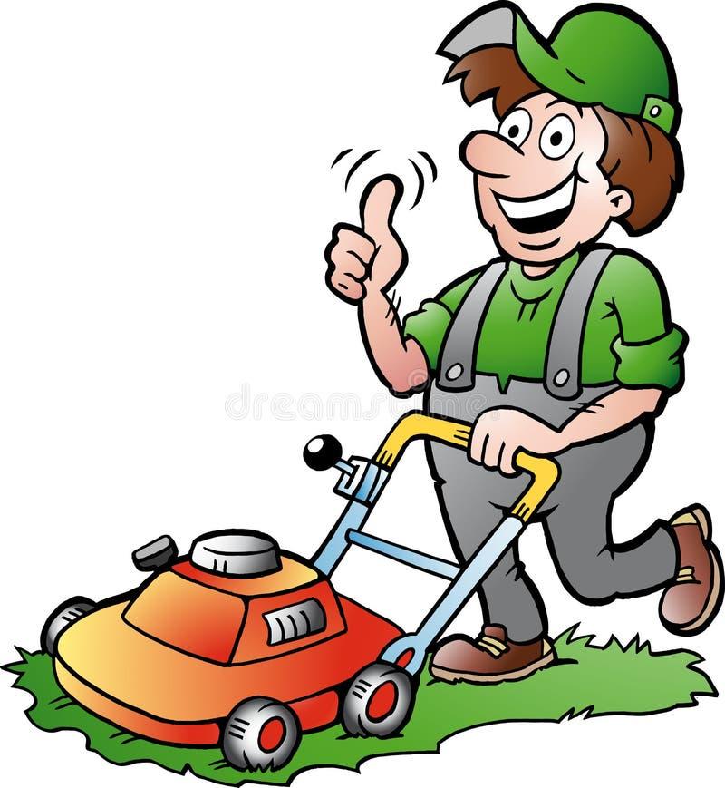 ilustração de um jardineiro feliz com seu lawnmow