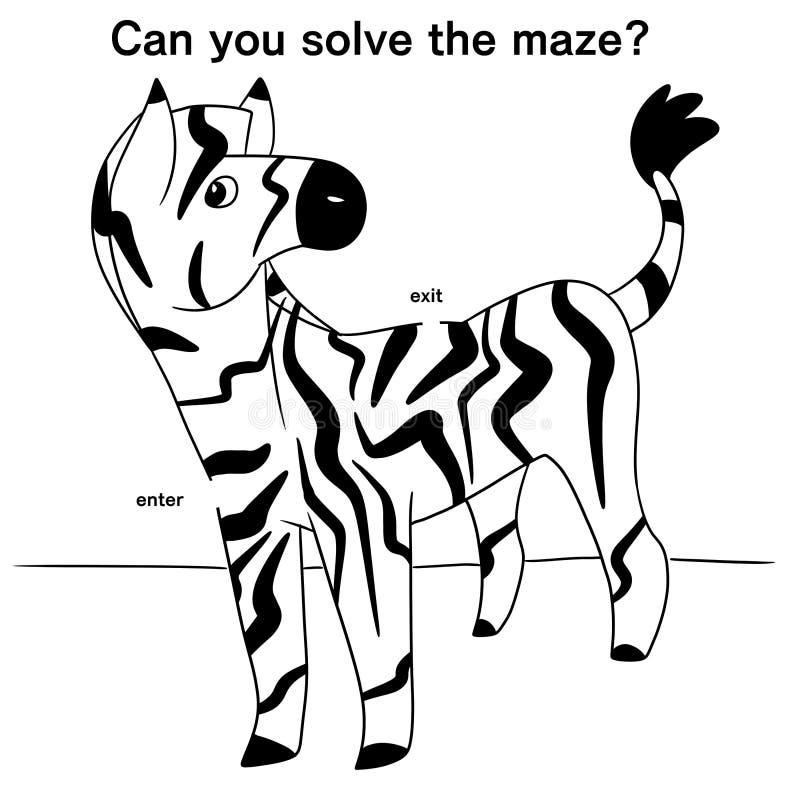 Ilustração de um labirinto da zebra ilustração royalty free