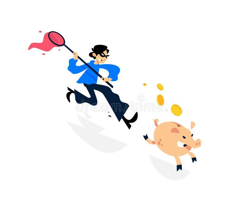 Ilustração de um ladrão que corre após um mealheiro com uma rede Ilustração do vetor A imagem é isolada no fundo branco A ilustração do vetor