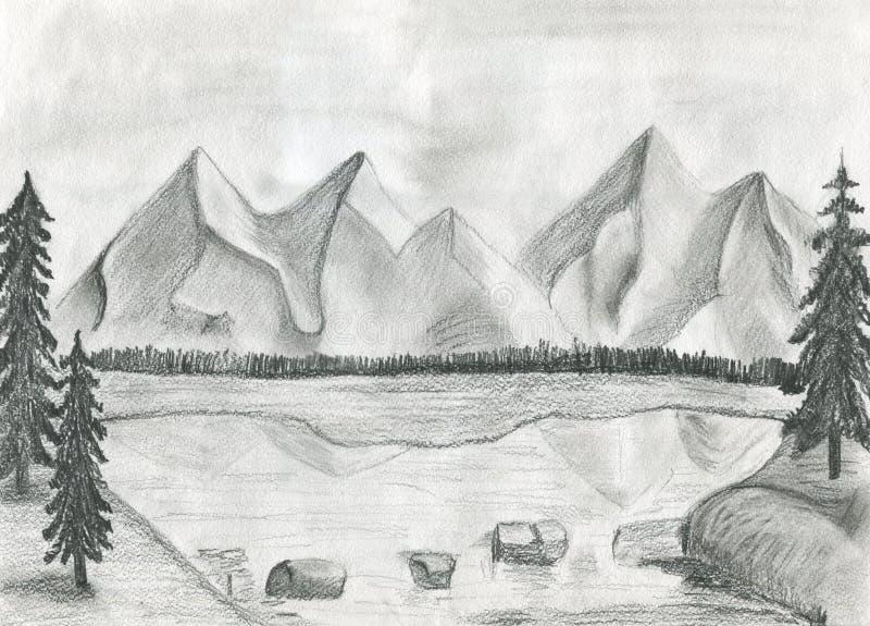 A ilustração de um lago da montanha foto de stock royalty free