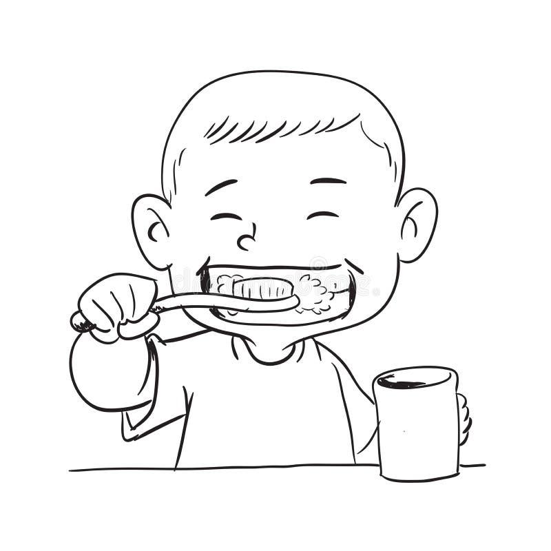 A ilustração de um menino faz a escova de dentes ilustração royalty free