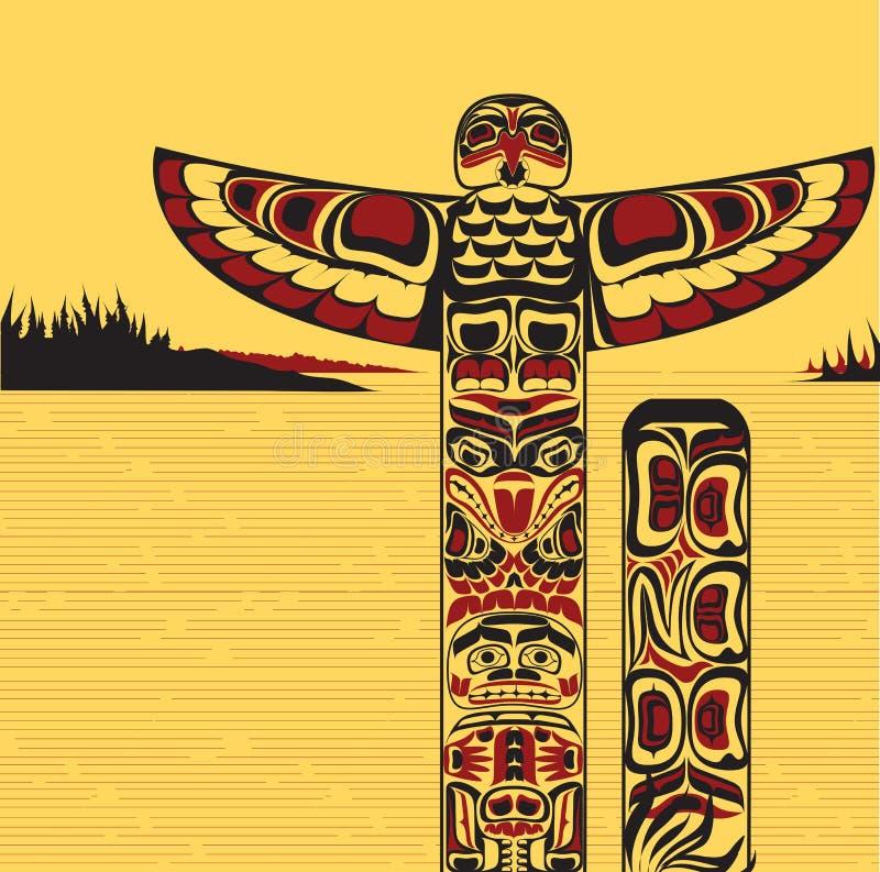 Ilustração de um pólo de totem norte-americano ilustração royalty free