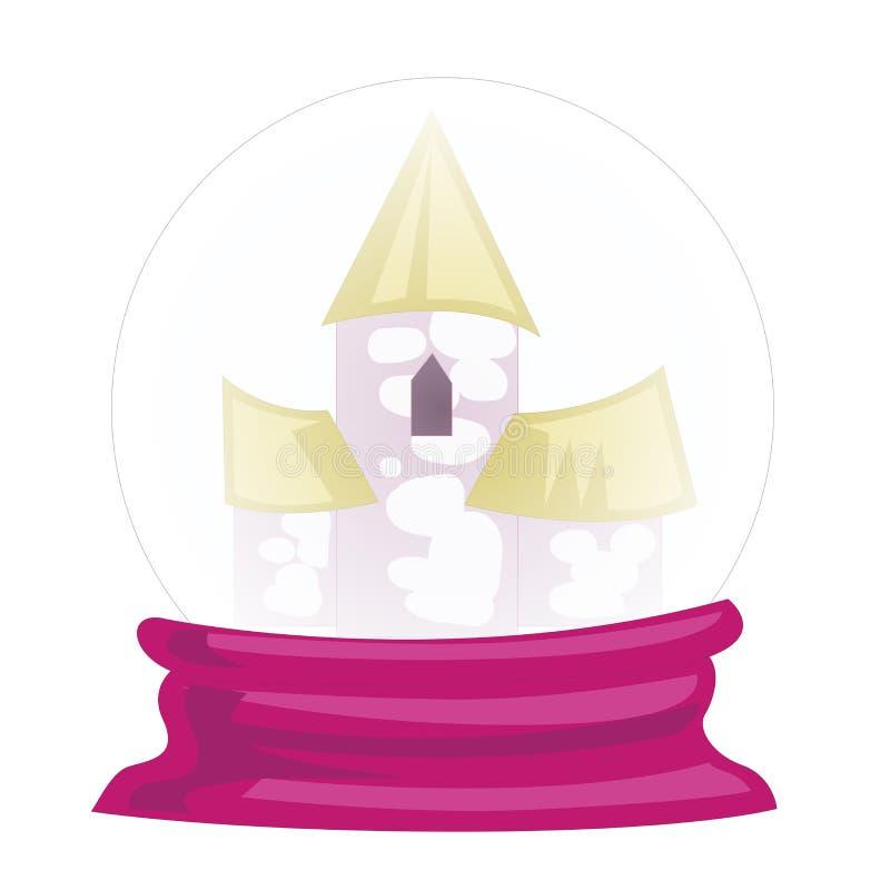Ilustração de um palácio dentro da bola de cristal em um fundo branco Vetor ilustração royalty free