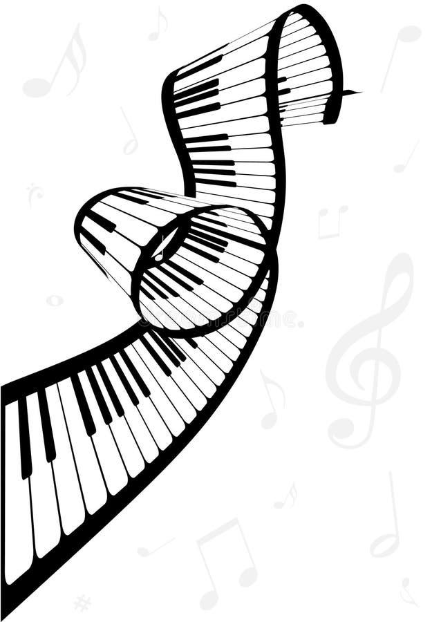 Ilustração de um piano e de notas da música ilustração royalty free
