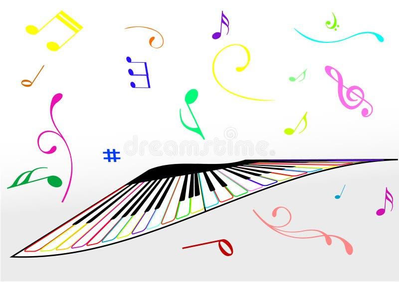 Ilustração de um piano e de notas da música ilustração stock