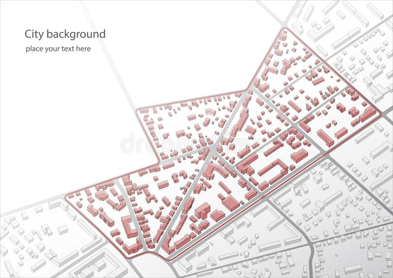 Ilustração de um plano imaginário do distrito Um exemplo de baixos construções do centro histórico velho do ` s da cidade Bu abst ilustração royalty free