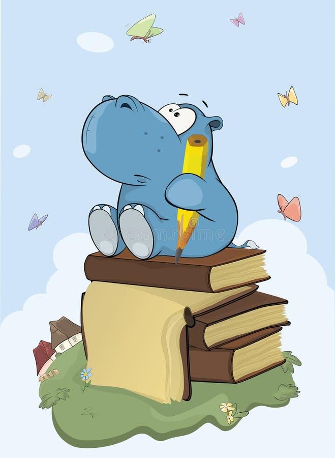 Ilustração de um poeta pequeno bonito Cartoon do hipopótamo ilustração royalty free