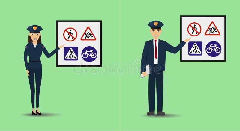 Ilustração de um polícia e de uma policial que mostram o signage Sinais de estrada de ensino dos povos da polícia ilustração stock