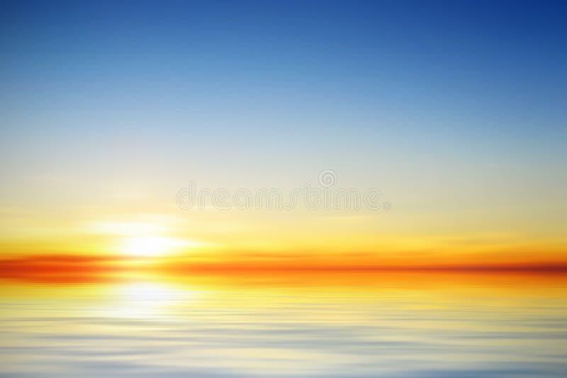 Ilustração de um por do sol calmo bonito