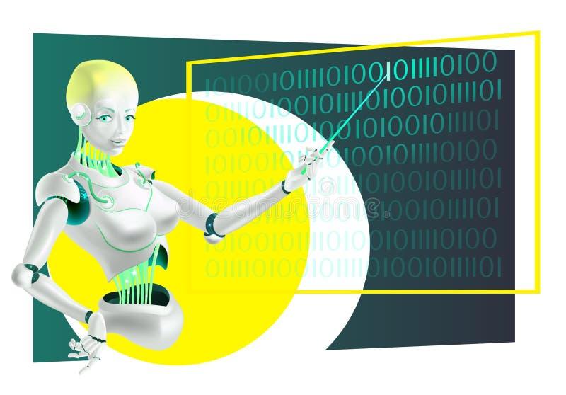 Ilustração de um professor do conferente ou do cyborg do robô com um ponteiro fotografia de stock royalty free
