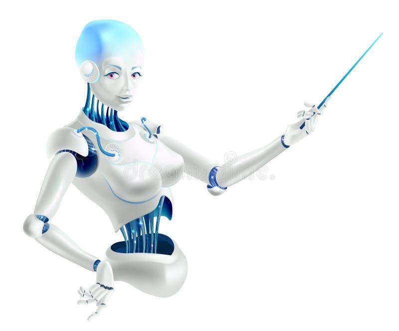 Ilustração de um professor do conferente ou do cyborg do robô com um ponteiro imagens de stock royalty free