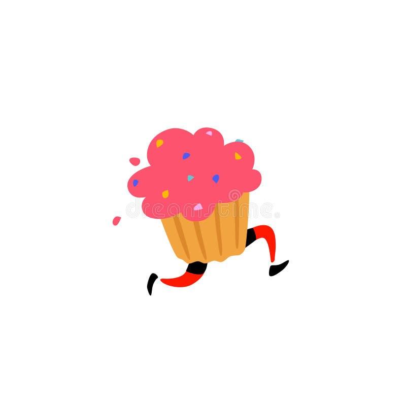 Ilustração de um queque saboroso Vetor Caráter doce com pés Ícone para o local no fundo branco Sinal, logotipo para a loja de ilustração do vetor