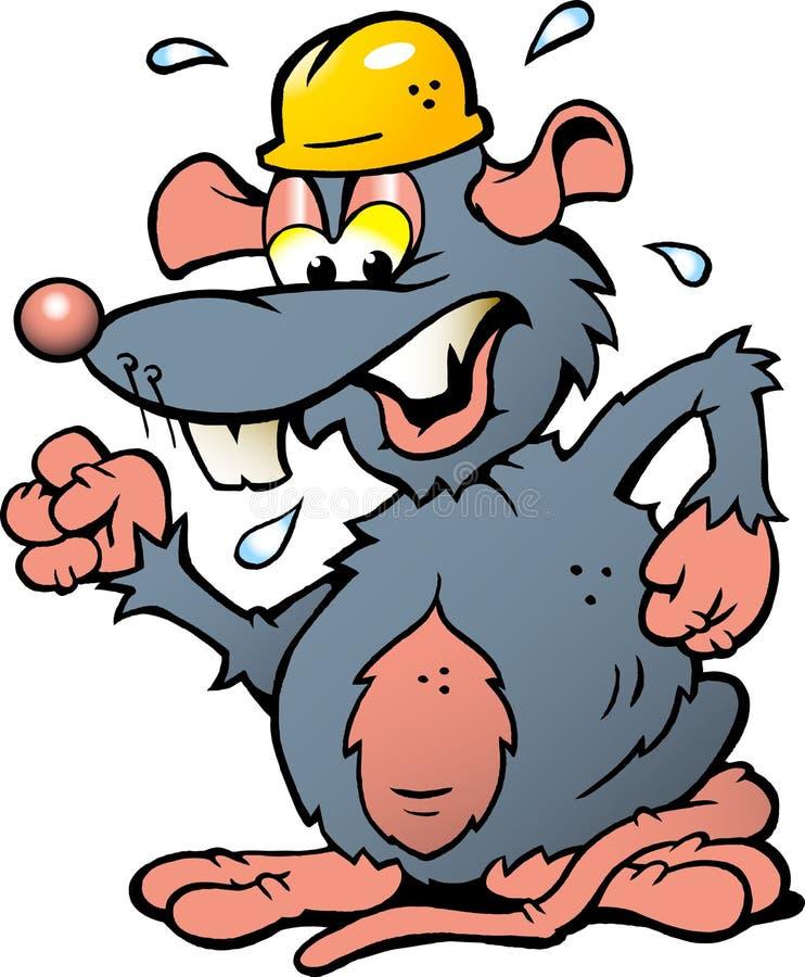 Ilustração de um rato irritado da virada com Hel amarelos ilustração royalty free