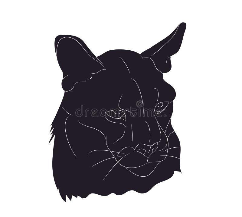 Ilustração de um retrato da leoa, desenho do vetor da silhueta ilustração do vetor