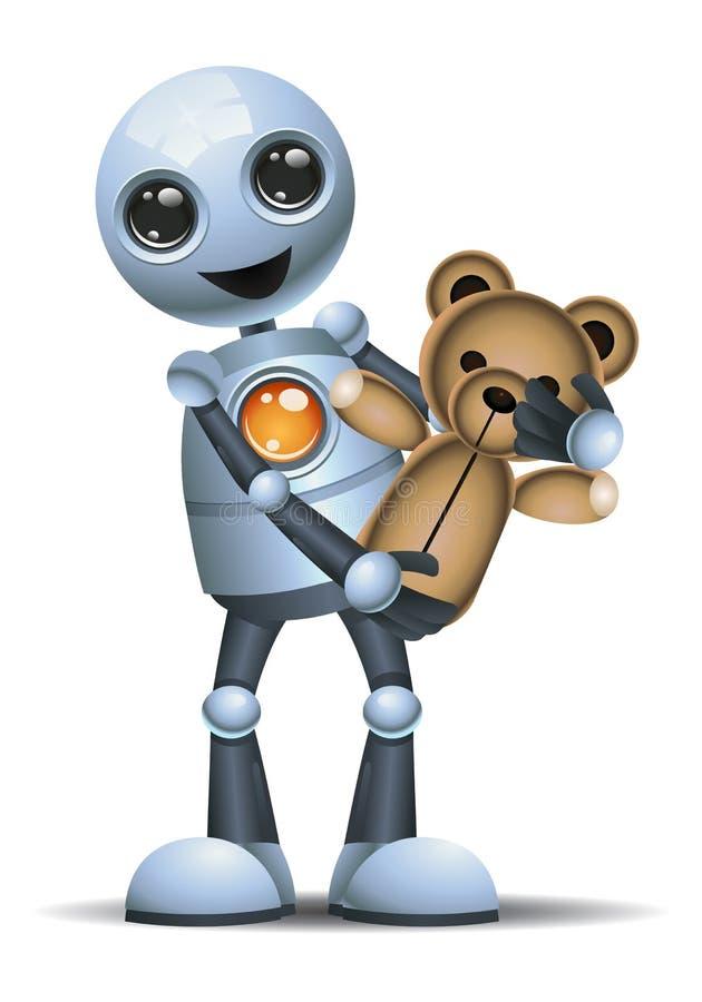 A ilustração de um robô pequeno leva o brinquedo ilustração do vetor
