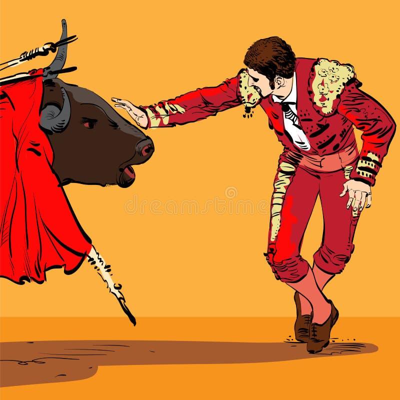 Ilustração de um touro e de um matador ilustração do vetor
