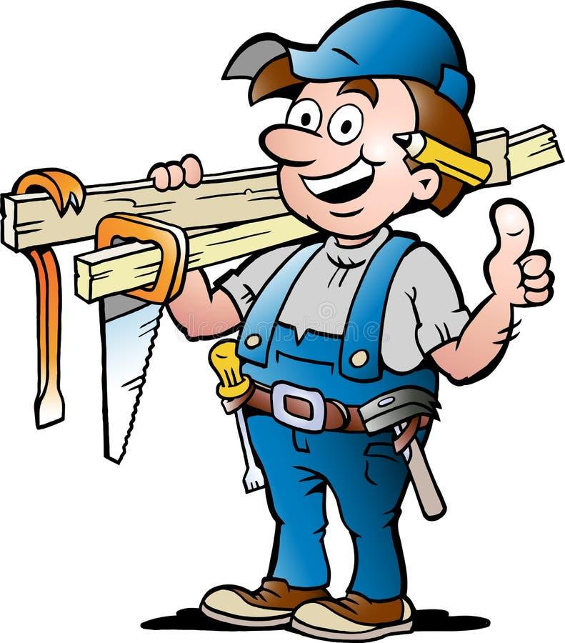 Ilustração de um trabalhador manual feliz do carpinteiro ilustração royalty free