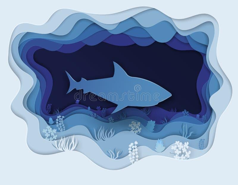 Ilustração de um tubarão formidável na caça imagens de stock