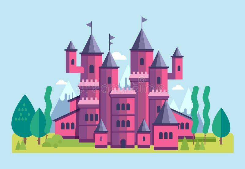 Ilustração de um vetor cor-de-rosa bonito do castelo ilustração royalty free