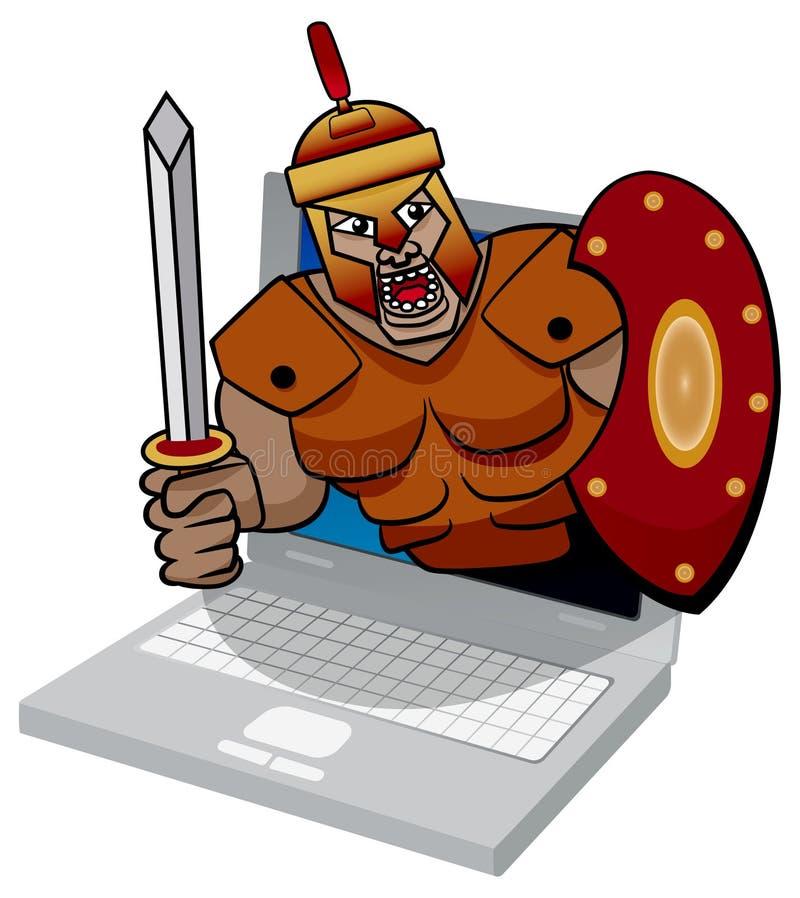 Ilustração de uma ameaça trojan do vírus de computador. ilustração do vetor