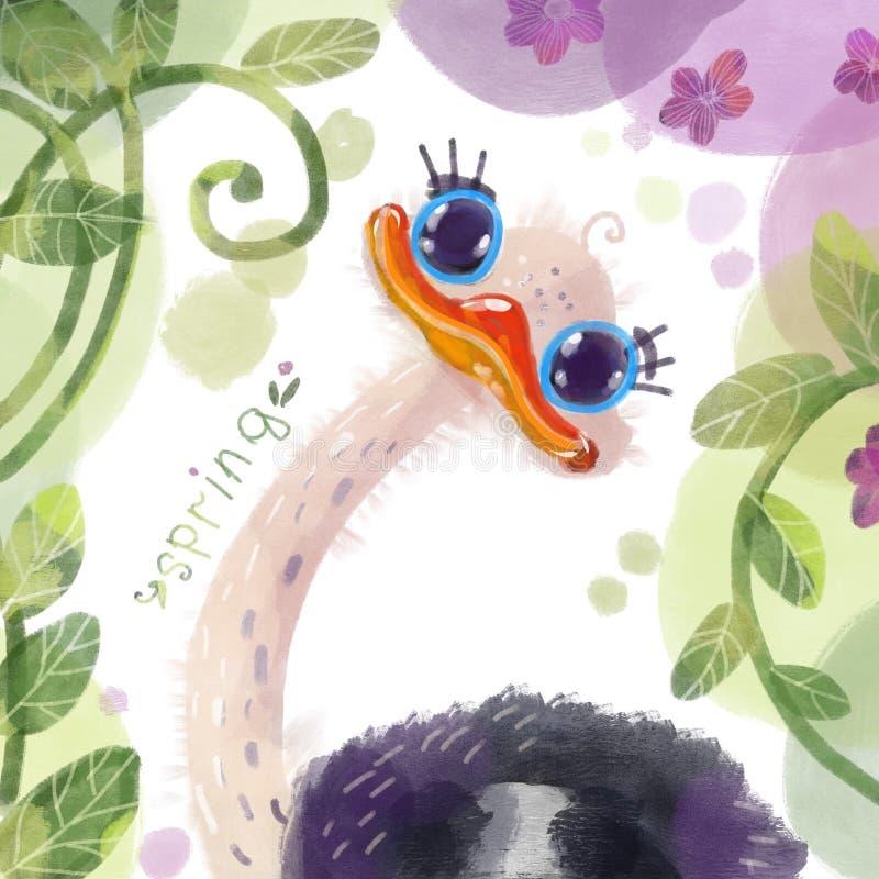 Ilustração de uma avestruz ilustração royalty free