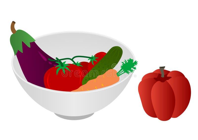 Ilustração de uma bacia com vegetais ilustração royalty free