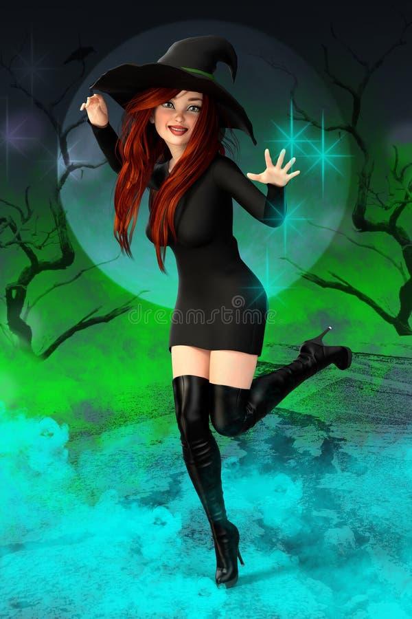 Ilustração de uma bruxa sassy bonita que molda um período ilustração royalty free