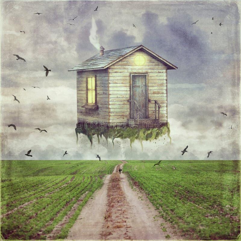 Ilustração de uma casa pequena dos desenhos animados no céu ilustração royalty free