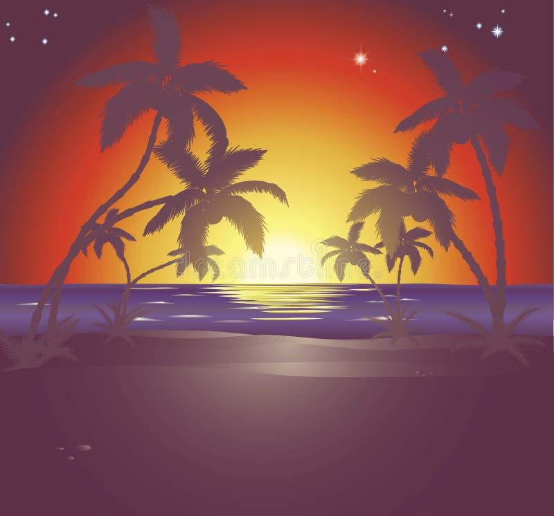 Ilustração de uma cena bonita da praia no por do sol ilustração royalty free