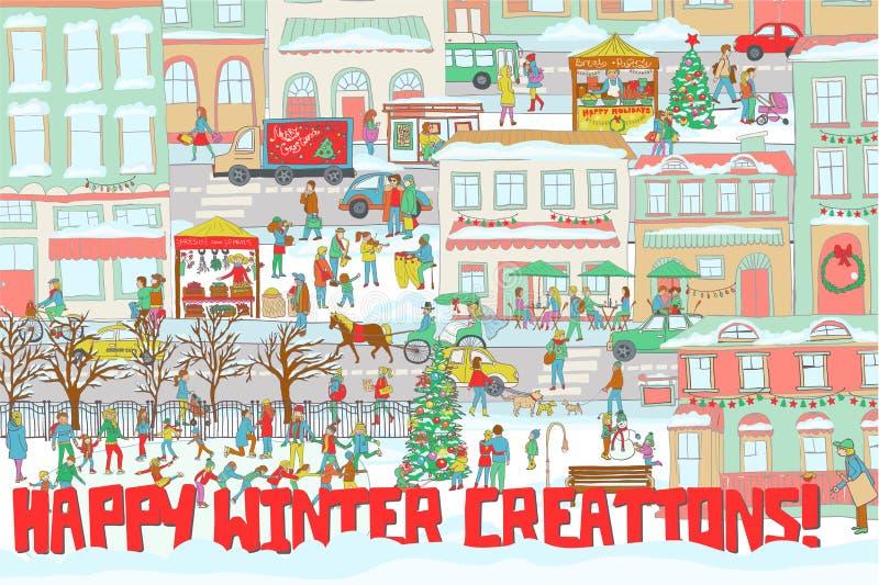 Ilustração de uma cidade do inverno com patinagem no gelo dos povos, andando em uma rua, comendo em um restaurante, jogando o vio ilustração royalty free