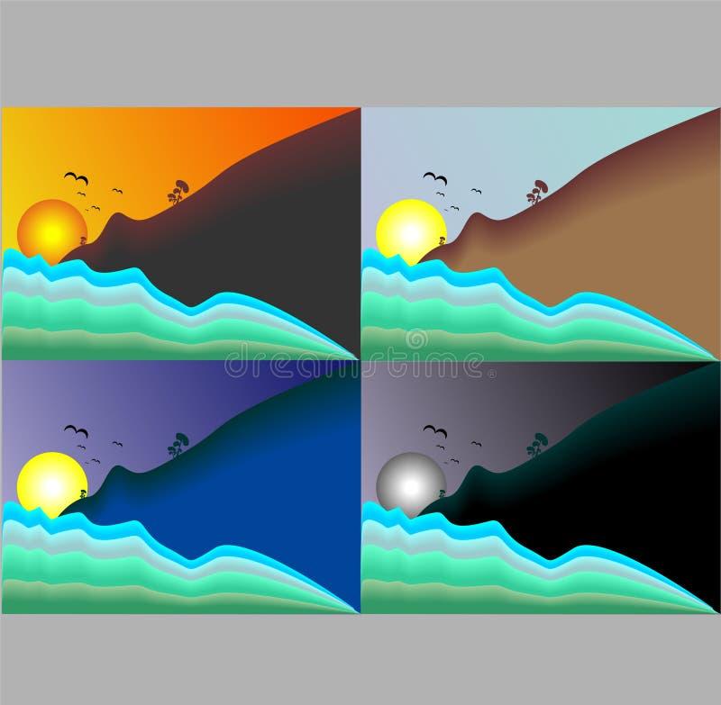 Ilustração de uma coleção de opiniões do sol e do céu ilustração stock