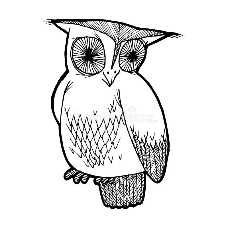 Ilustração de uma coruja sábia Gráficos preto e branco, bem - serido para as publicações das crianças, registro dos produtos das  ilustração do vetor