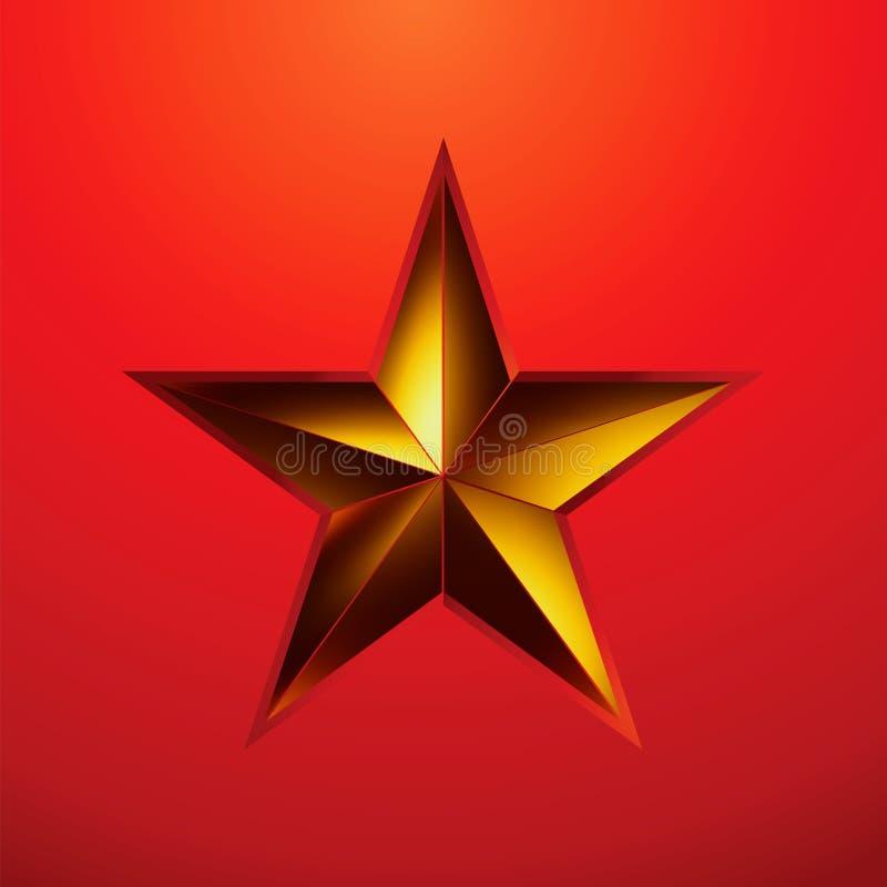 Ilustração de uma estrela do ouro no vermelho. EPS 8 ilustração royalty free