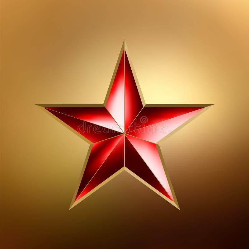 Ilustração de uma estrela vermelha no ouro. EPS 8 ilustração royalty free