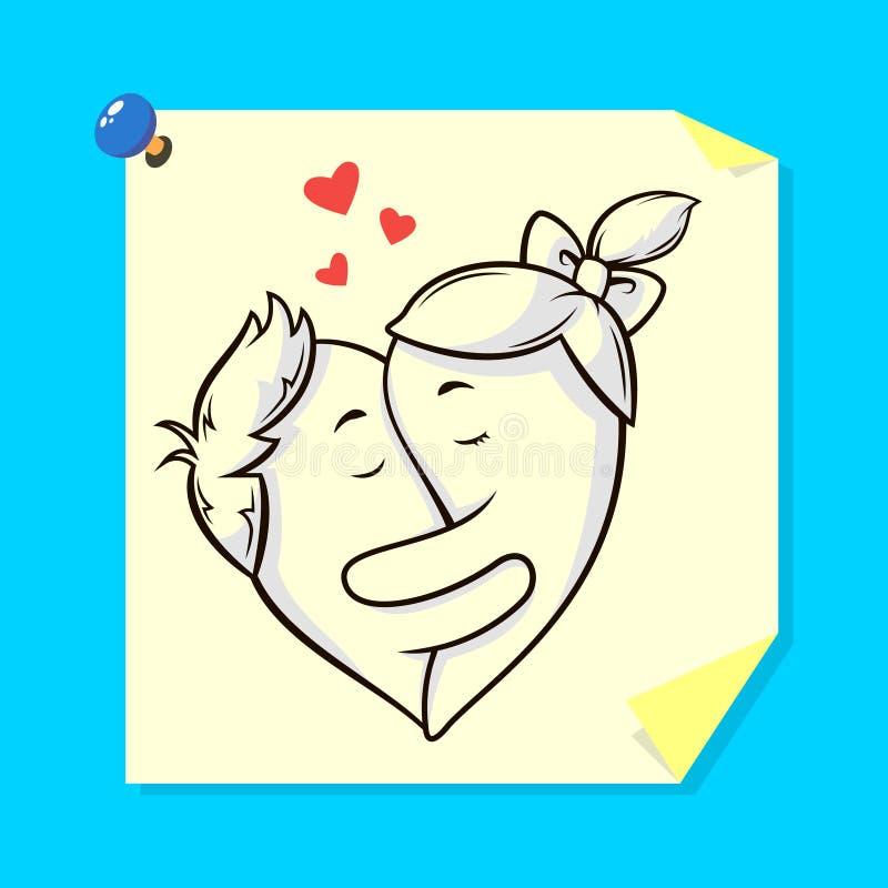 Ilustração de uma etiqueta com os amantes pintados que abraçam na forma de um coração ilustração royalty free