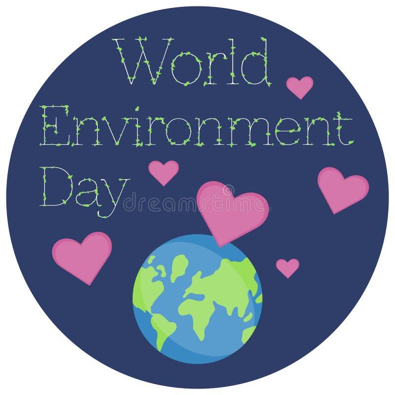 Ilustração de uma etiqueta para o dia de ambiente de mundo ilustração royalty free