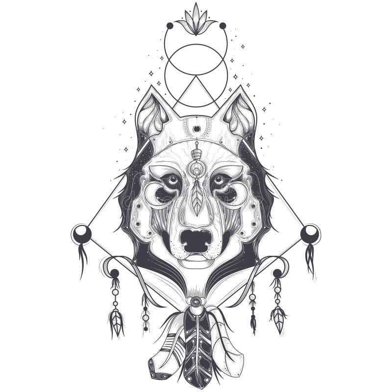 ilustração de uma ideia dianteira de uma cabeça do lobo, esboço geométrico de uma tatuagem ilustração royalty free