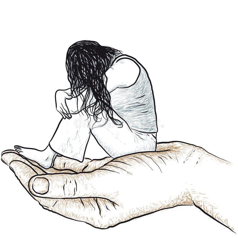 Mão que apoia uma mulher ilustração stock