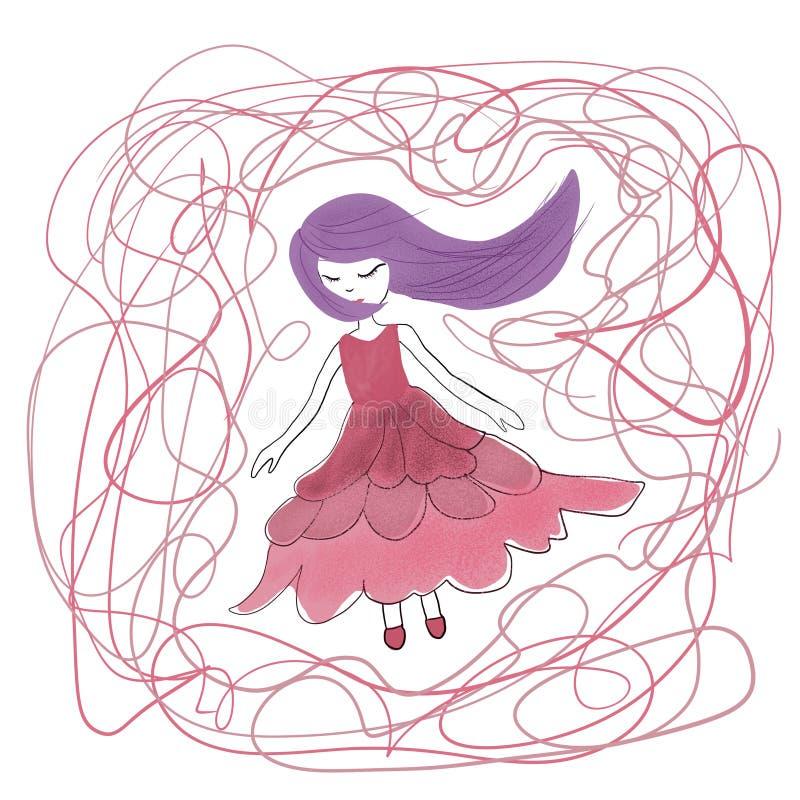 Ilustração de uma menina bonita ilustração royalty free