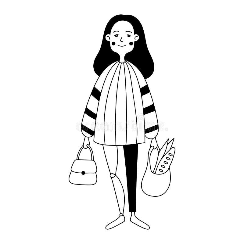Ilustração de uma menina com um pé protético ilustração royalty free