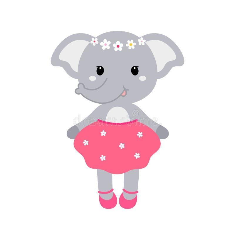 Ilustração de uma menina engraçada bonito do elefante em um vestido Conceito para a cópia das crianças ilustração do vetor
