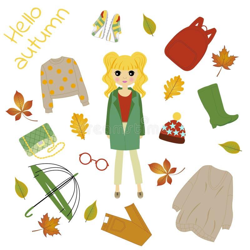 Ilustração de uma menina na roupa do outono ilustração royalty free