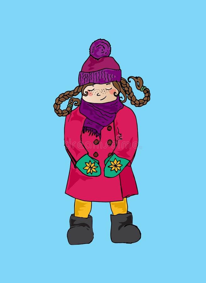 Ilustração de uma menina no roupa brilhante morna Um bebê bonito ilustração do vetor