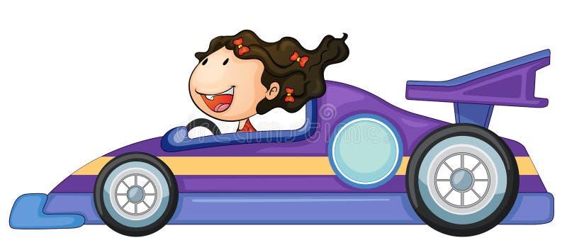 Uma menina que conduz um carro ilustração stock